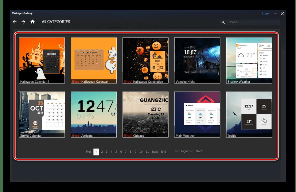 Галерея виджетов от xWidget на Windows 10