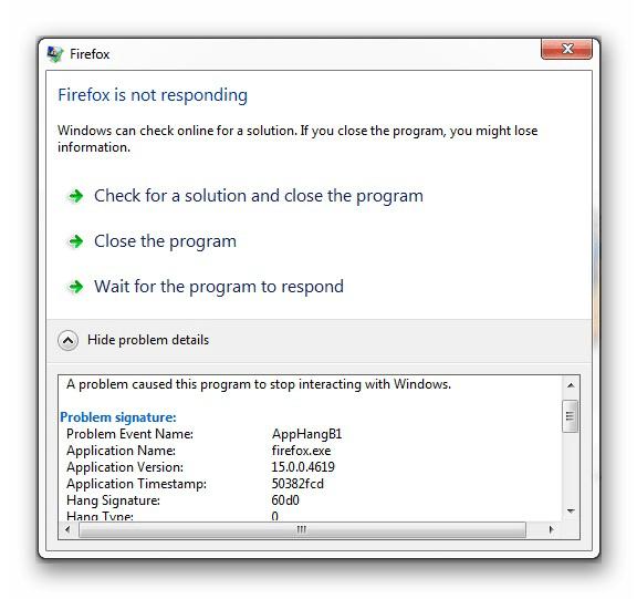 Ошибка AppHangB1 в информационном окне Windows 7