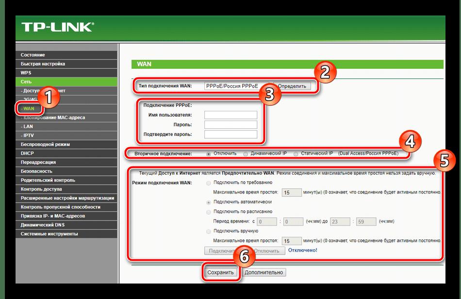 Основные параметры проводной сети на роутере TP-Link TL-MR3420