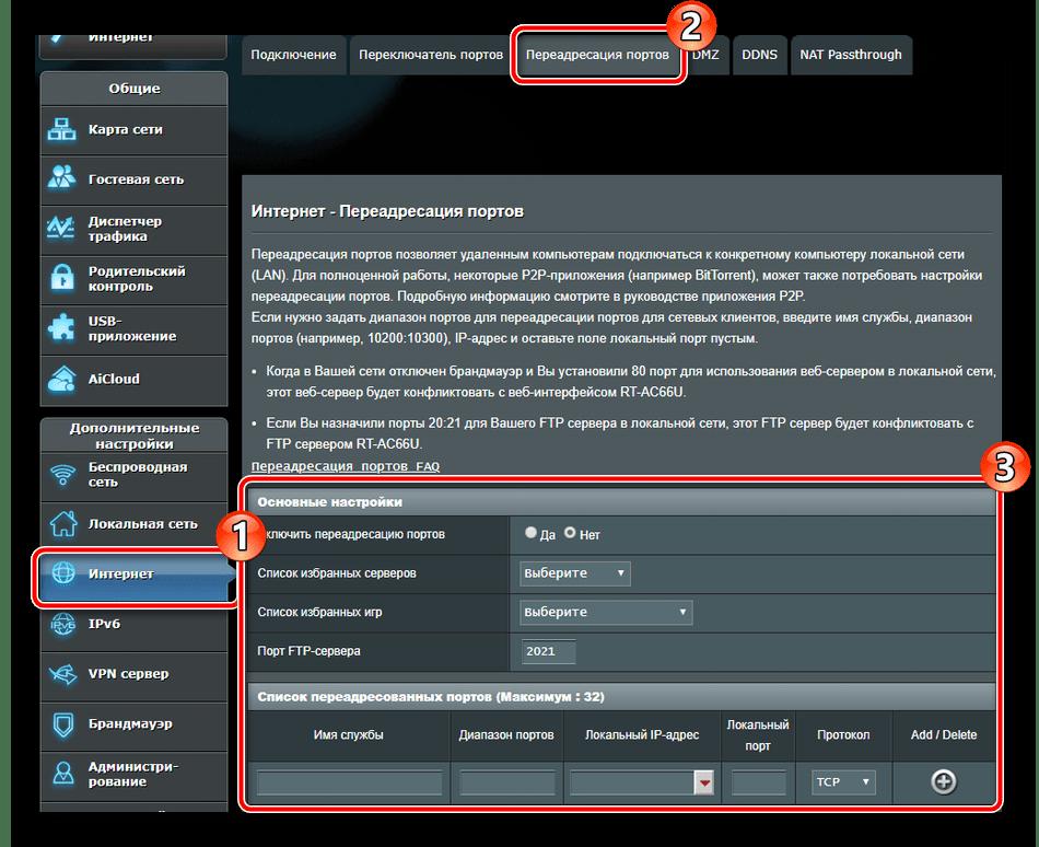Переадресация портов на роутере ASUS RT-N66U