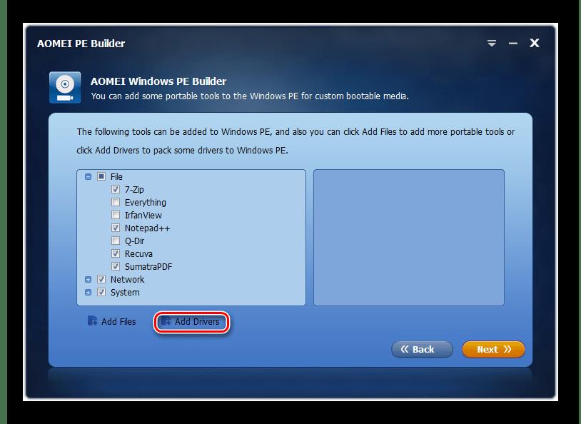 Переход к добавлению драйверов в окне программы AOMEI PE Builder в Windows 7