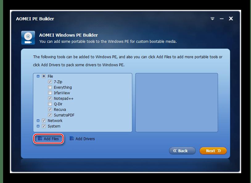 Переход к добавлению программ в сборку в окне программы AOMEI PE Builder в Windows 7