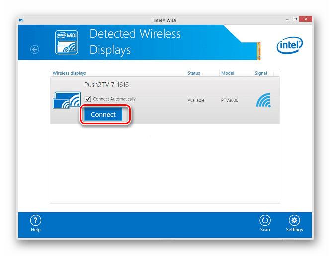 Переход к подключению к беспроводному дисплею в программе Intel Wireless Display в Windows 7