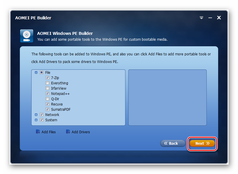 Переход к следующему этапу создания сборки в окне программы AOMEI PE Builder в Windows 7