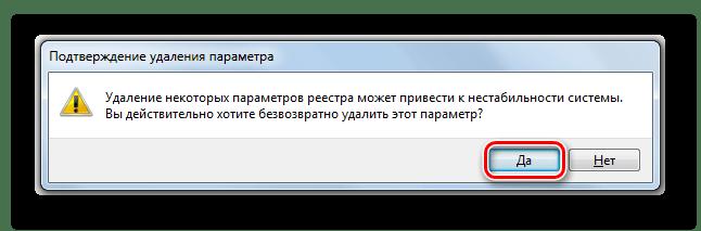 Подтверждение удаление параметра в диалоговом окне Редактора системного реестра в Windows 7