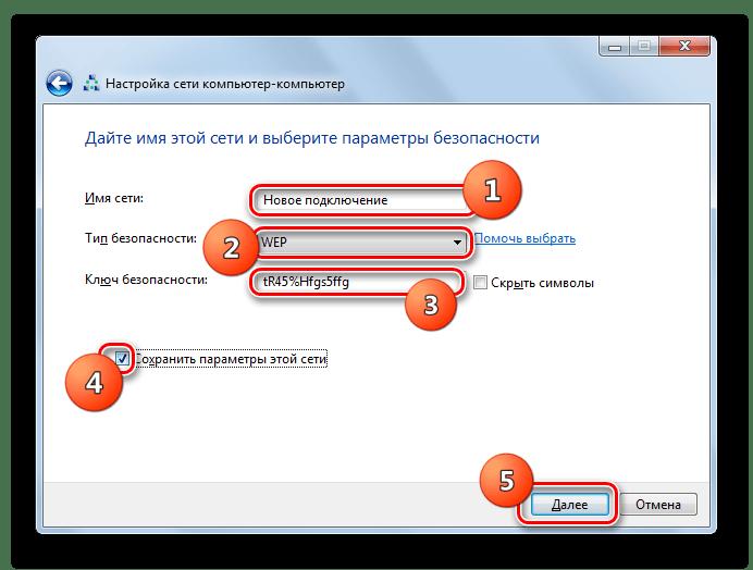 Присвоение имени сети и настройка параметров безопасности в окне настройки беспроводной сети компьютер - компьютер в Windows 7