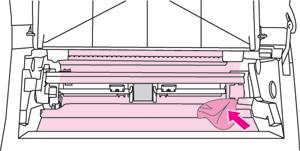 Прочистить внутренности принтера HP