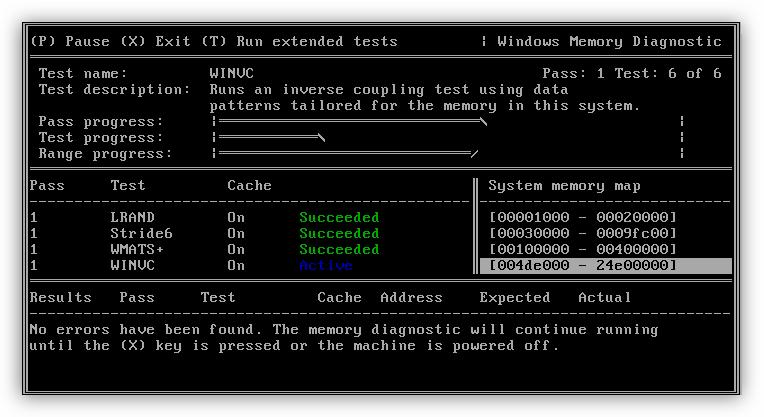 Проверка оперативной памяти в программе Windows Memory Diagnostic