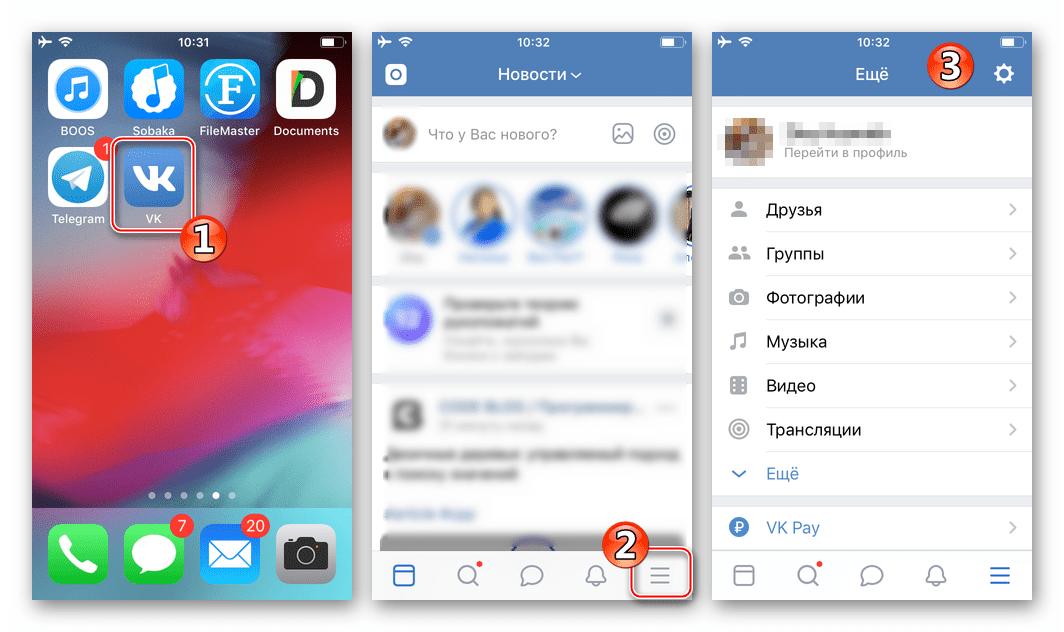 Скачивание аудиозаписей из ВКонтакте на iPhone - меню разделов - Настройки