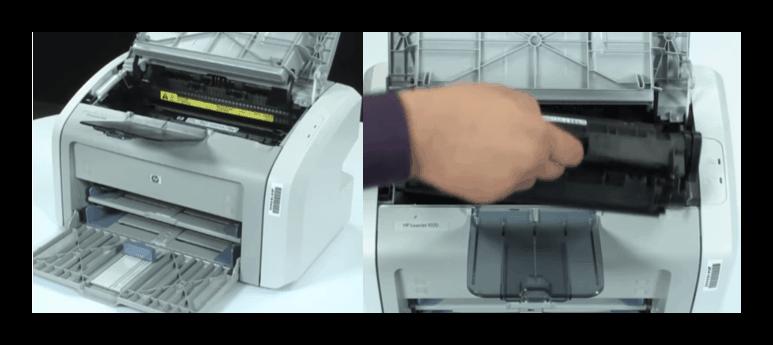 Снятие картриджа принтера