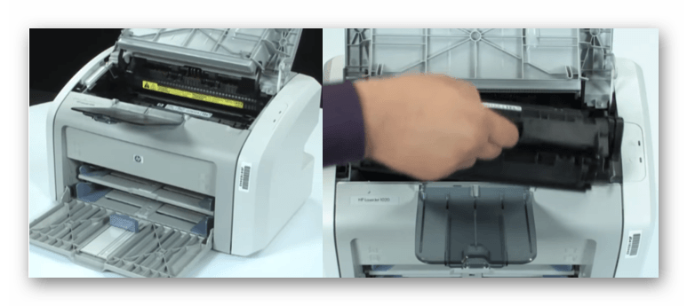 Снятие картриджа с принтера