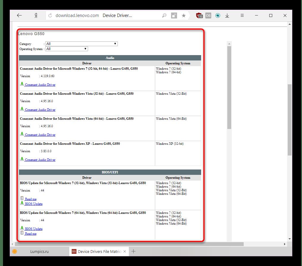 Список всех драйверов для ноутбука Lenovo G550