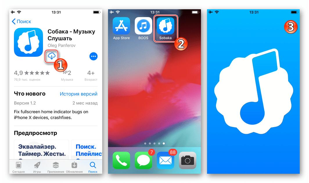 Установка приложения Sobaka из App Store в iPhone, запуск для загрузки музыки из VK