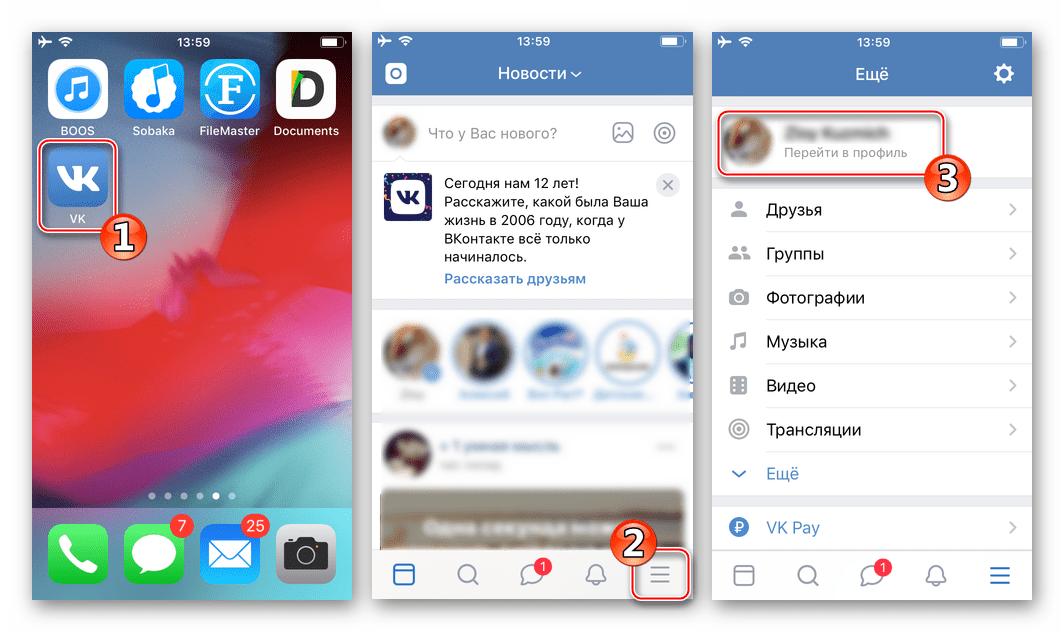 ВКонтакте для iPhone - переход в профиль для копирования ссылки на страницу в соцсети