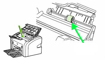 Вид ролика захвата в принтерах HP