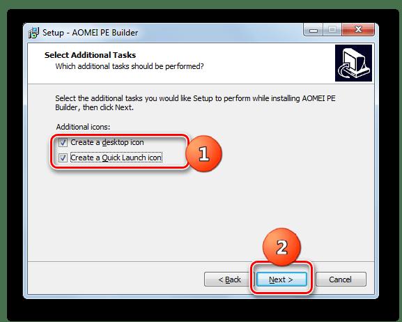Включение отображения иконки приложения на Рабочем столе и на Панели инструментов в Мастере установки программы AOMEI PE Builder в Windows 7