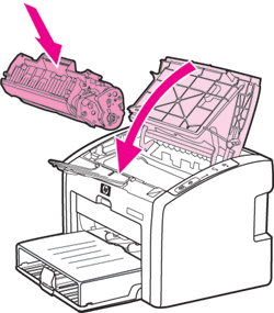 Вставить картридж в принтер HP