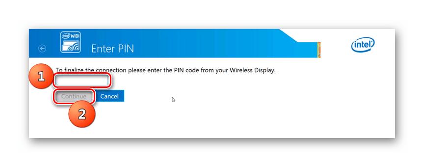 Ввод пин-кода в программе Intel Wireless Display в Windows 7