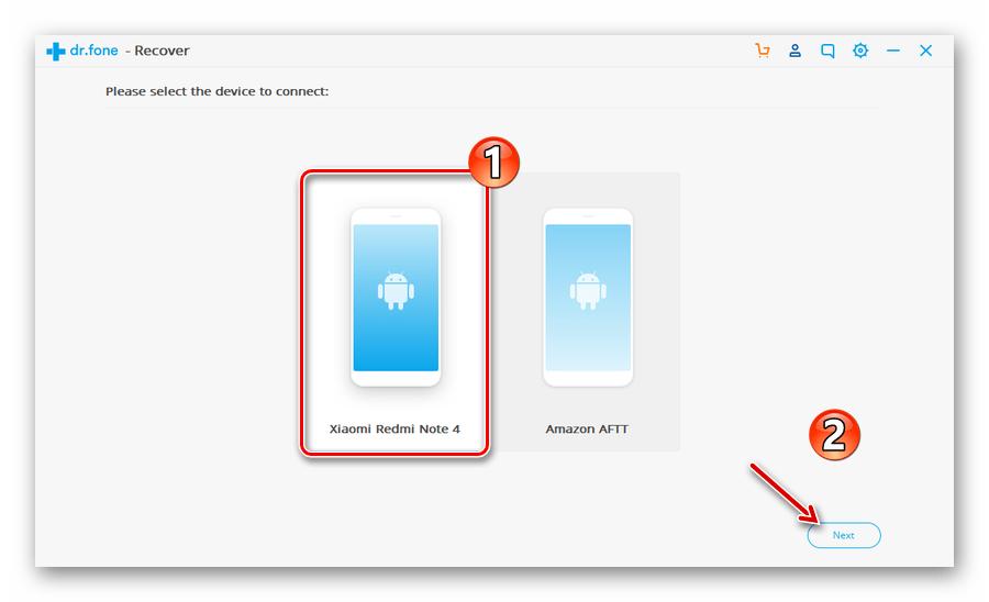 Выбор устройства для работы с программой Wondershare Dr.Fone Android Toolkit
