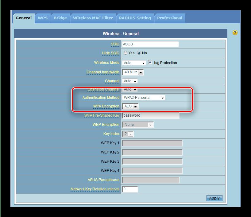 Выбрать метод аутентификации и тип шиврования Wi-Fi роутера ASUS RT-G32