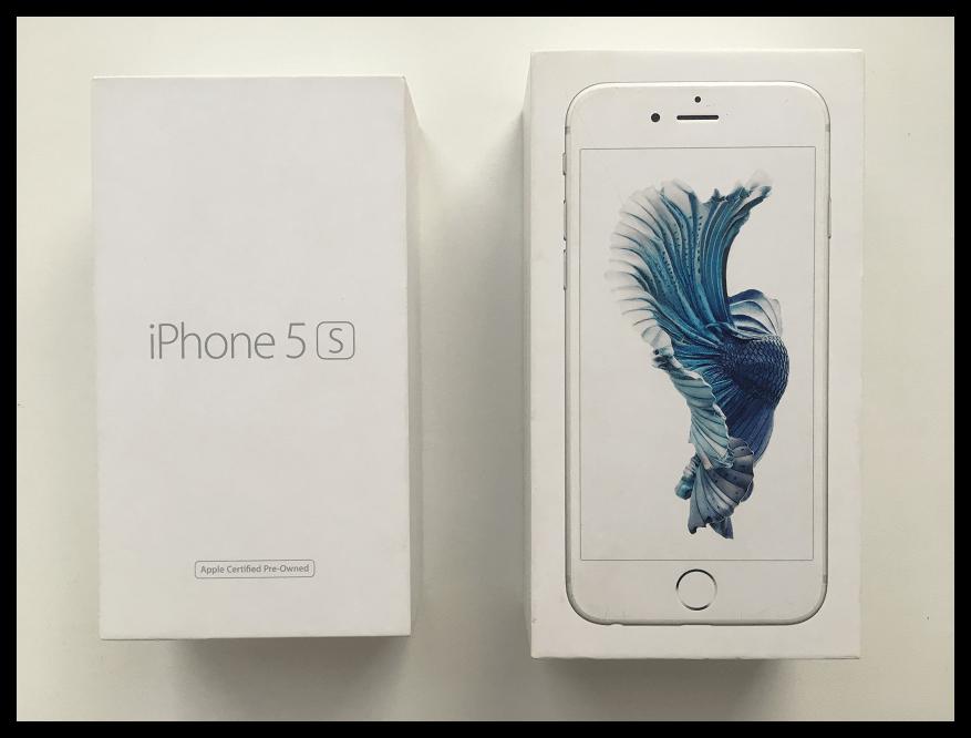 Коробки восстановленного и нового iPhone