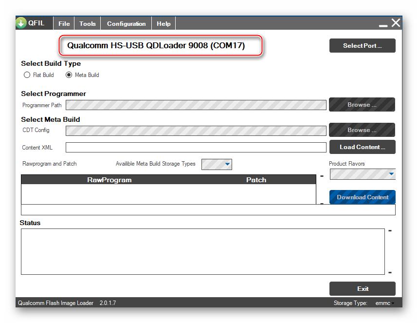 Lenovo A6010 QFIL аппарат в режиме EDL определился в программе