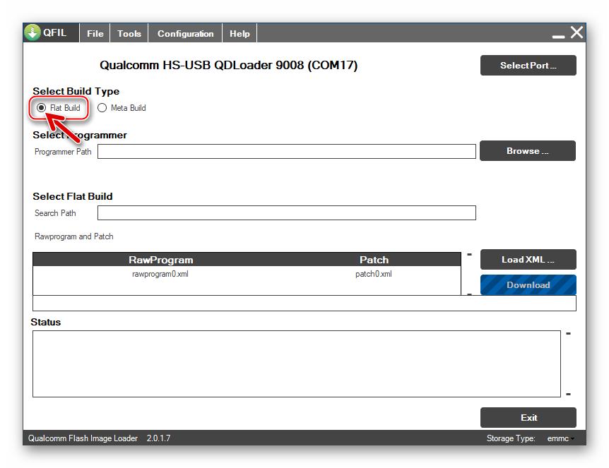 Lenovo A6010 QFIL выбор режима работы прошивальщика для перезаписи памяти модели