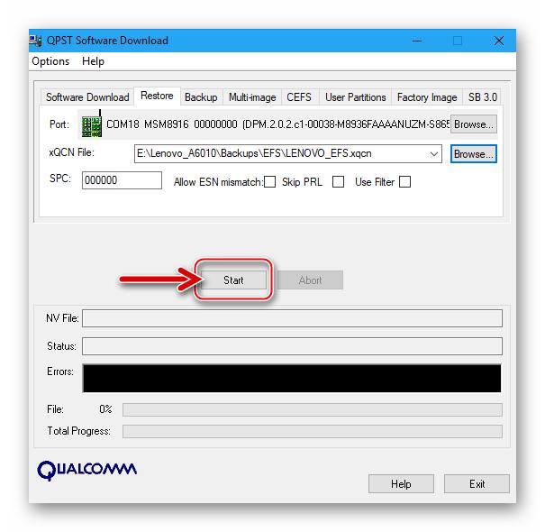Lenovo A6010 начало восстановления IMEI через QPST - из резервной копии созданной утилитой Software Download