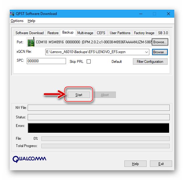 Lenovo A6010 начало вычитки данных из раздела EFS для создания бэкапа IMEI