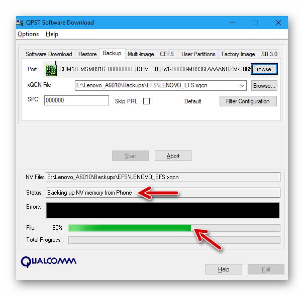 Lenovo A6010 процесс создания резервной копии раздела EFS - бэкапа IMEI