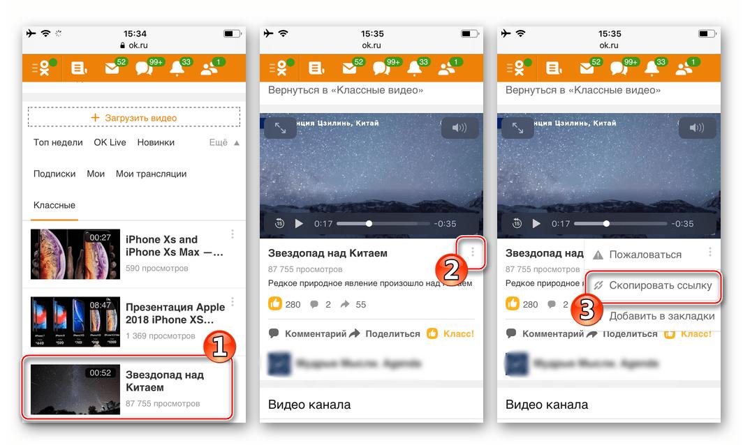 Одноклассники на Iphone копирование ссылки на видео при доступе к соцсети через браузер