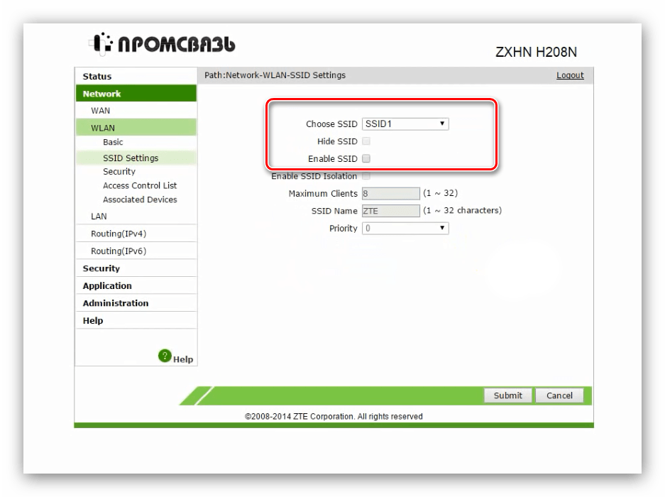 Опции имени сети для настройки Wi-Fi на модеме ZTE ZXHN H208N