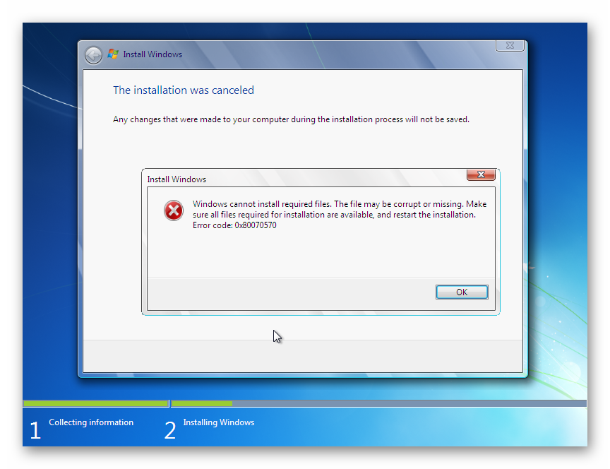 Ошибка 0x80070570 при установке Windows 7 на экране компьютера