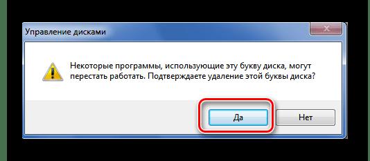 Подтверждение удаления буквы диска в Виндовс 7