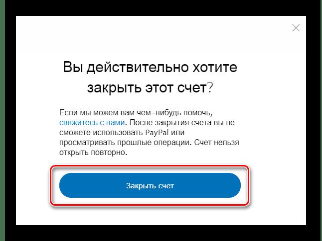 Подтверждение закрытия аккаунта в PayPal