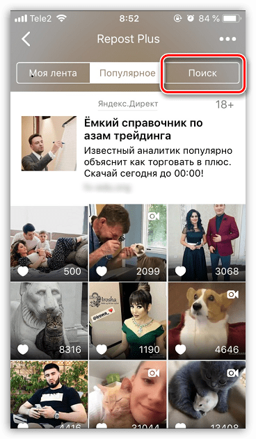 Поиск аккаунта в приложении Insta Plus для iPhone