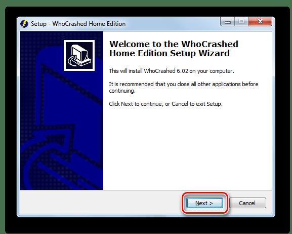 Приветственное окно Мастера установки программы WhoCrashed на Windows 7
