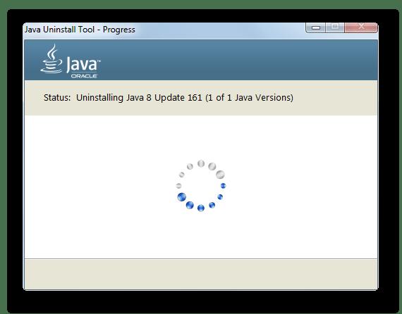 Процедура удаления Java в окне утилиты JavaUninstalTool в Windows 7