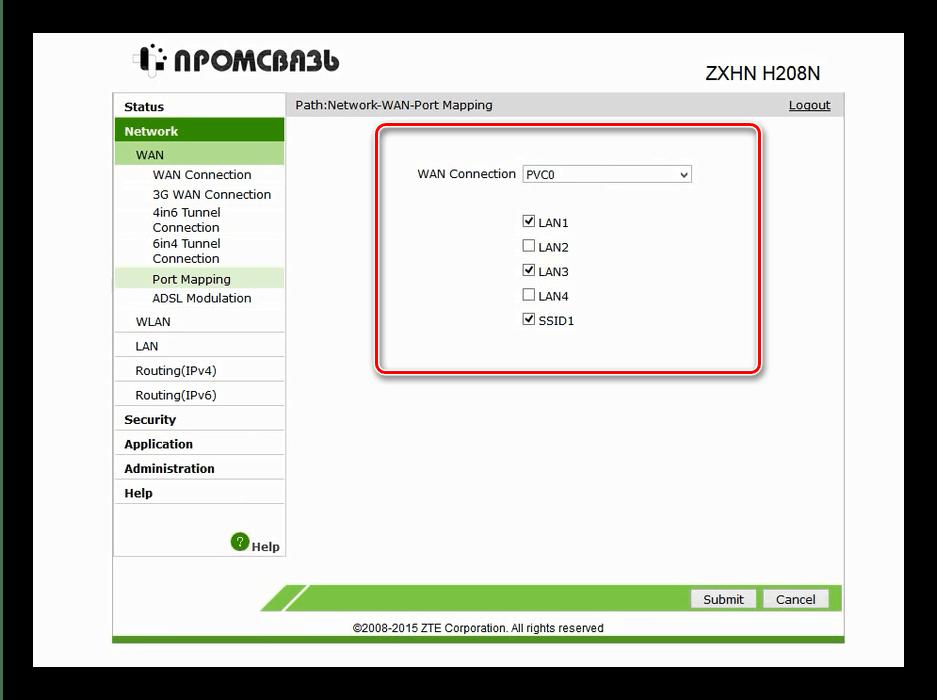 Проверить порты для настройки IPTV на модеме ZTE ZXHN H208N