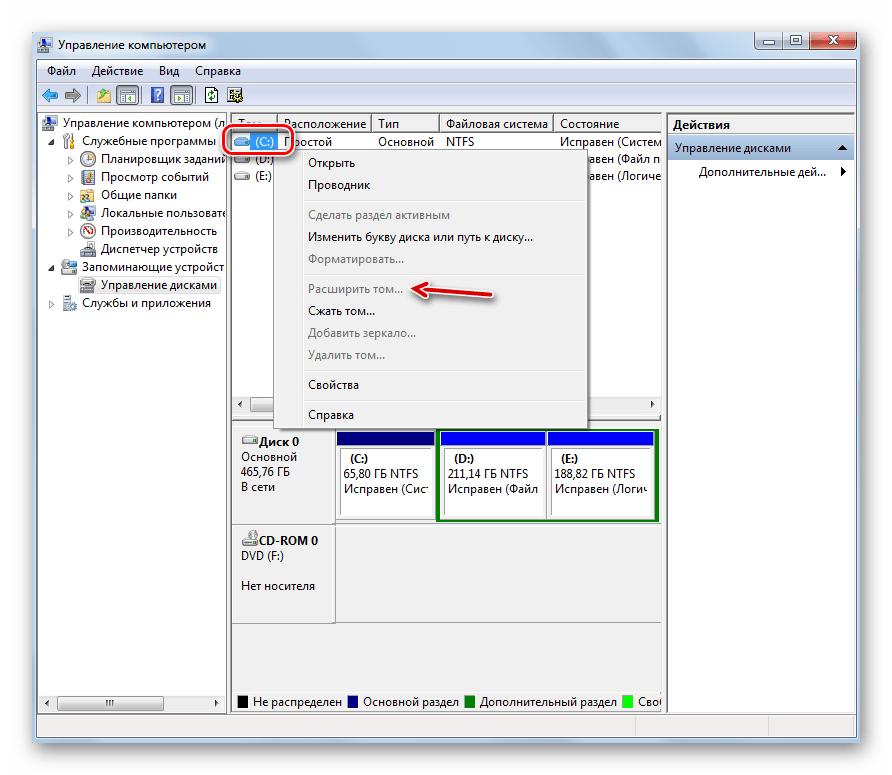 Пункт Расширить том не активен в окне оснастки Управление дисками в Windows 7