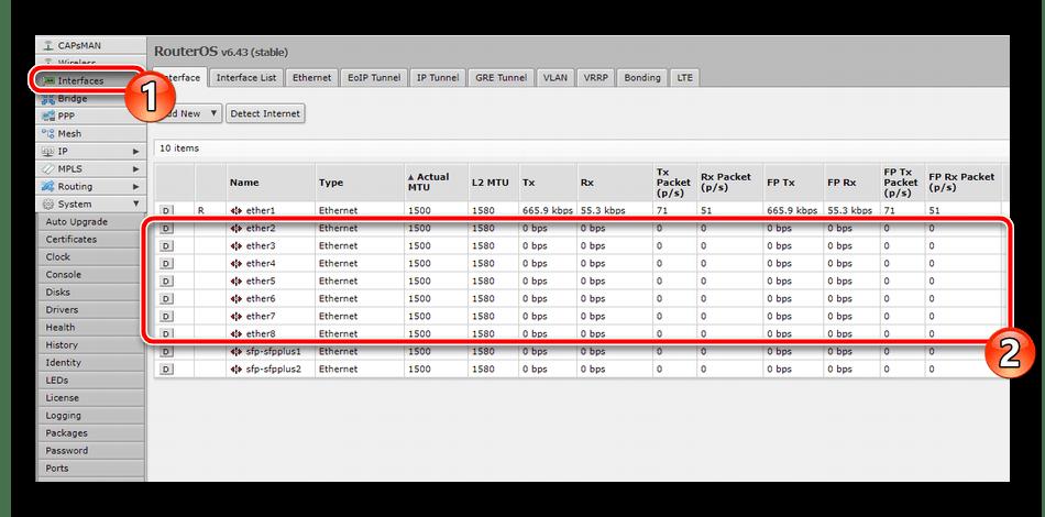 Редактирование интерфейса на роутере Mikrotik RB951G-2HnD