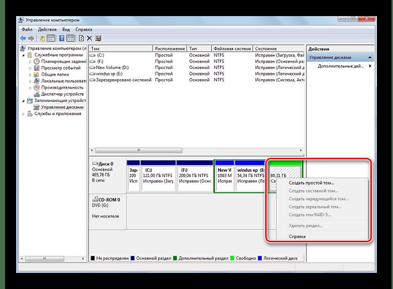 Создание нового тома для жесткого диска в ОС Windows 7