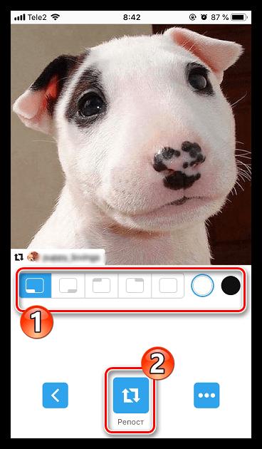 Создание репоста Instagram в приложении Instasave для iPhone