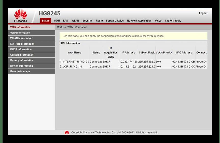 Страница Status на роутере Huawei HG8245