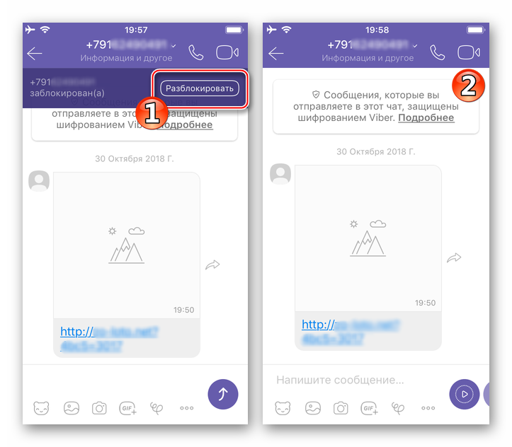Viber для iPhone кнопка Разблокировать на экране диалога с контактом из черного списка