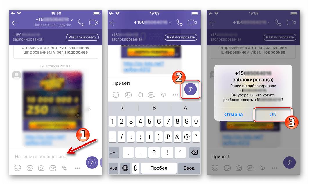 Viber для iPhone отправка заблокированному участнику сообщения для его разблокировки