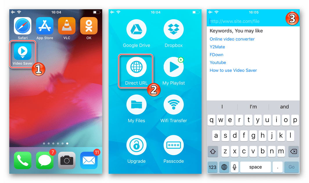 Video Saver PRO+ Cloud Drive запуск приложения, переход в браузер для загрузки видеороликов из Одноклассников в память iPhone