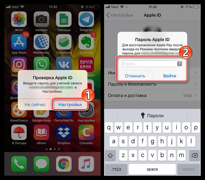 Ввод пароля от Apple ID на iPhone