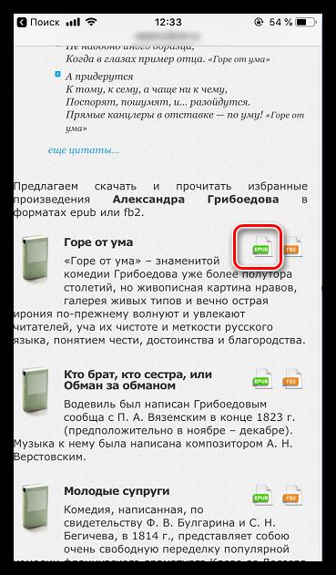 Загрузка книги в формате ePub