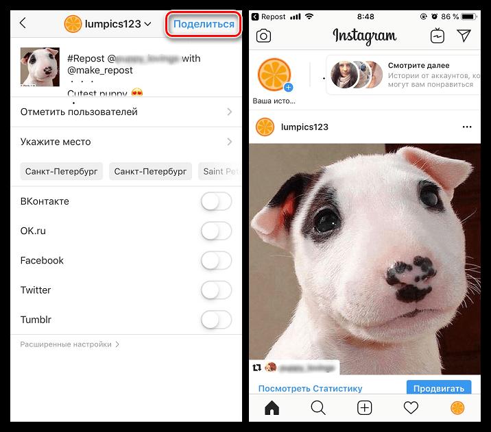 Завершение публикации репоста в Instagram на iPhone